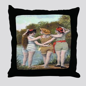 Victorian Bathers Shower Curtain Throw Pillow