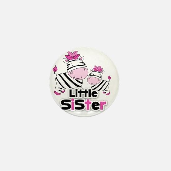 Little Sister Pink Zebra Mini Button
