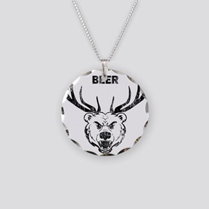 bear with horns Necklace Circle Charm