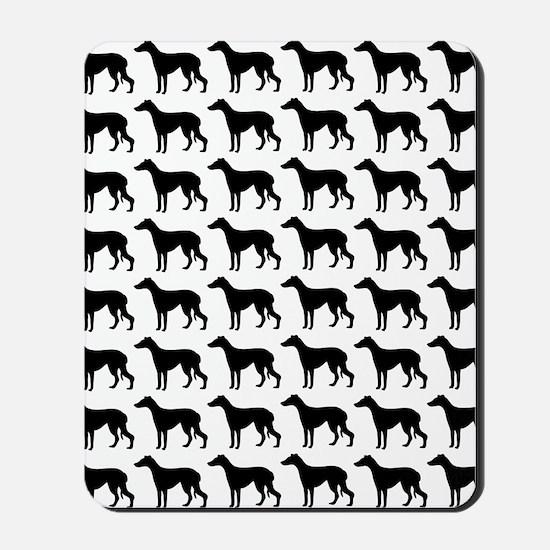 Greyhound Silhouette Flip Flops In Black Mousepad