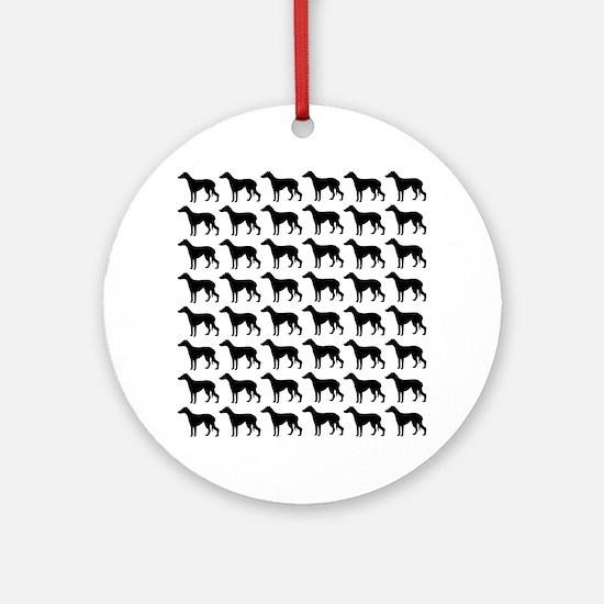 Greyhound Silhouette Flip Flops In  Round Ornament