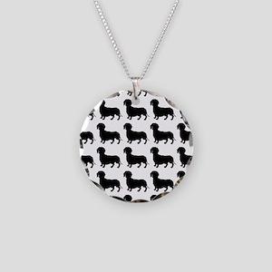 Dachshund Silhouette Flip Fl Necklace Circle Charm