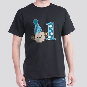 1st Birthday Cute Boy Monkey Blue Dark T-Shirt