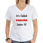 It's Called English Learn It Women's V-Neck T-Shi