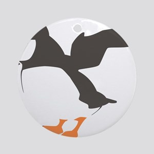 Puffin with Wings Round Ornament
