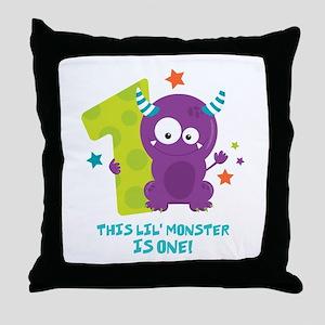 Monster 1st Birthday Throw Pillow