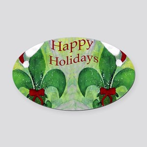 Christmas Santa Fleur de lis Oval Car Magnet