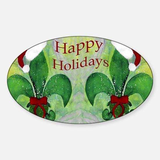 Christmas Santa Fleur de lis Sticker (Oval)
