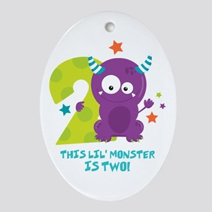 Monster 2nd Birthday Oval Ornament