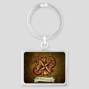 the pirate Shoppe logo backgrou Landscape Keychain