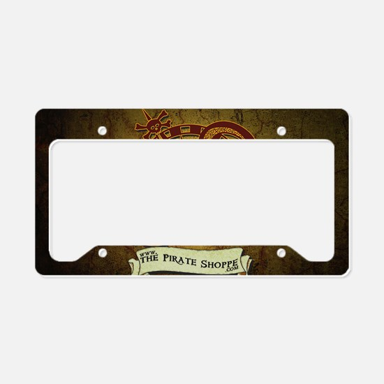 the pirate Shoppe logo backgr License Plate Holder