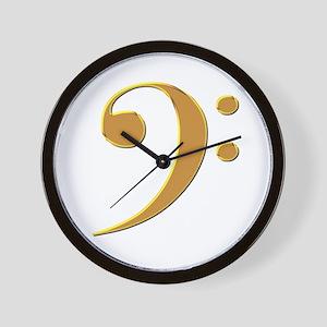 Gold Bass Clef Wall Clock