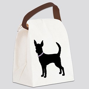 Black bling chihuahua Canvas Lunch Bag