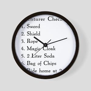 Adventurer Checklist (Black Letters) Wall Clock