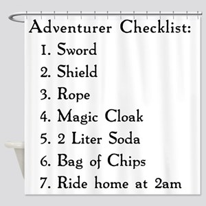 Adventurer Checklist (Black Letters Shower Curtain