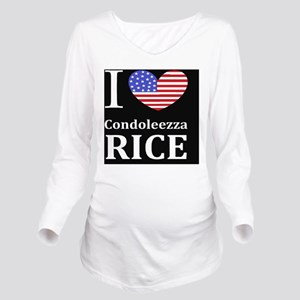 RICE I LOVEDBUTTONL Long Sleeve Maternity T-Shirt