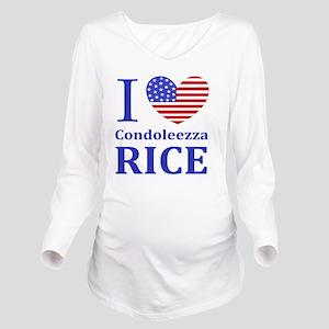RICE I LOVEDBUTTONLL Long Sleeve Maternity T-Shirt