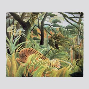 Henri Rousseau tiger in a tropical s Throw Blanket