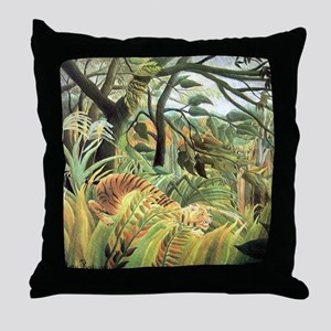 Henri Rousseau tiger in a tropical st Throw Pillow