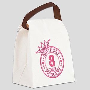 Birthday Princess 8 years Canvas Lunch Bag