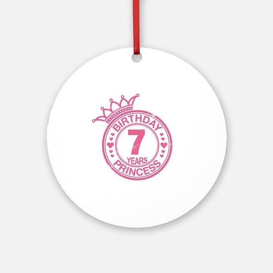 Birthday Princess 7 years Round Ornament