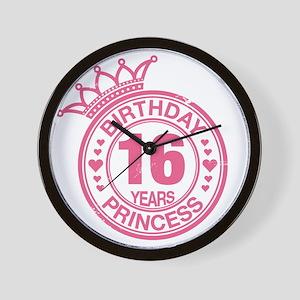 Birthday Princess 16 years Wall Clock