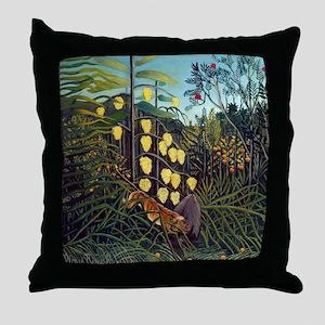 Henri Rousseau Tiger and Buffalo Throw Pillow