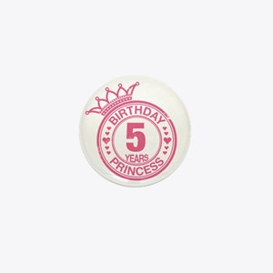 Birthday Princess 5 years Mini Button