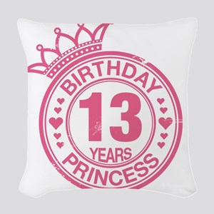 Birthday Princess 13 years Woven Throw Pillow