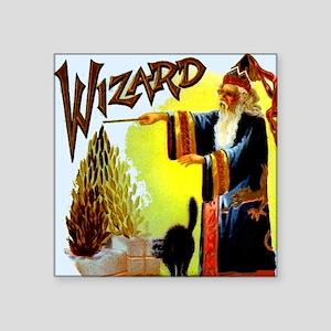 "Vintage Sorcerer Wizard Mer Square Sticker 3"" x 3"""