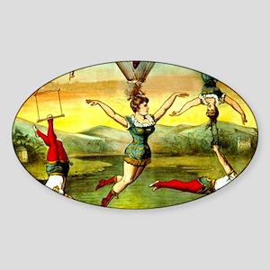 Vintage Victorian Trapeze Acrobats  Sticker (Oval)