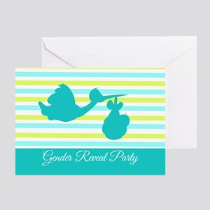 Gender Reveal Party Stork Greeting Card