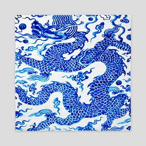 Vintage Blue Dragon Chinese Porcelain  Queen Duvet