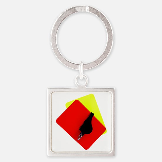 red and yellow card Square Keychain