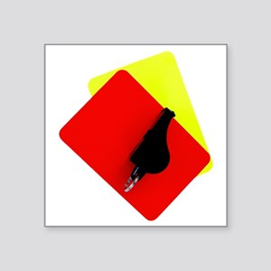 """red and yellow card Square Sticker 3"""" x 3"""""""