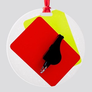 red and yellow card Round Ornament
