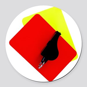 red and yellow card Round Car Magnet