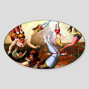 Vintage Flying Trapeze Ladies Circu Sticker (Oval)