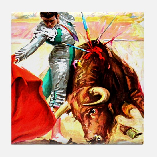 Vintage Mexico Bull Fighter Bullfight Tile Coaster