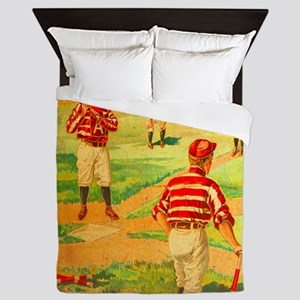 Vintage Sports Baseball Board Game Box Queen Duvet
