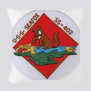 uss sea fox patch transparent Woven Throw Pillow