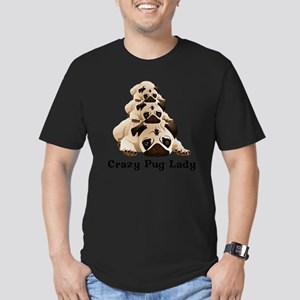 Crazy Pug Lady Men's Fitted T-Shirt (dark)