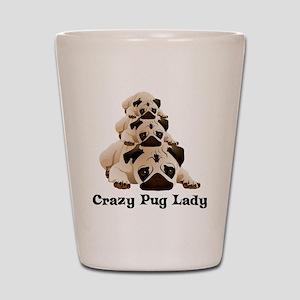 Crazy Pug Lady Shot Glass