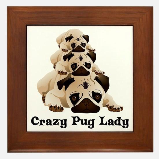 Crazy Pug Lady Framed Tile