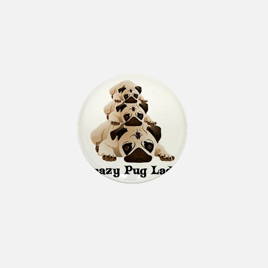 Crazy Pug Lady Mini Button