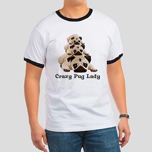 Crazy Pug Lady Ringer T
