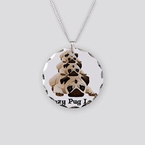 Crazy Pug Lady Necklace Circle Charm