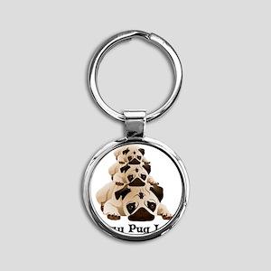 Crazy Pug Lady Round Keychain