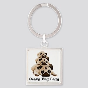 Crazy Pug Lady Square Keychain