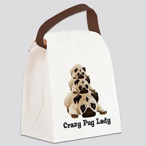 Crazy Pug Lady Canvas Lunch Bag